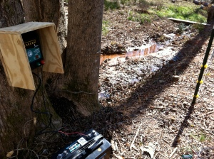 Fence Charger & Battery by creek